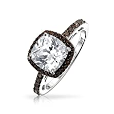 buy Bling Jewelry Vintage Black Chocolate Cz Cushion Cut 925 Silver Engagement Ring, Size 8