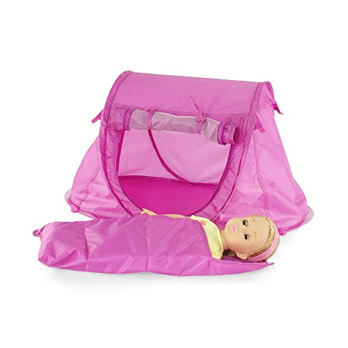 18-inch-Doll-Accessories-No-Poles-to-Assemble-Pop-up-Camping-Tent-with-Matching-Sleeping-Bag-and-Carry-Case-Fits-18-American-Girl-Dolls