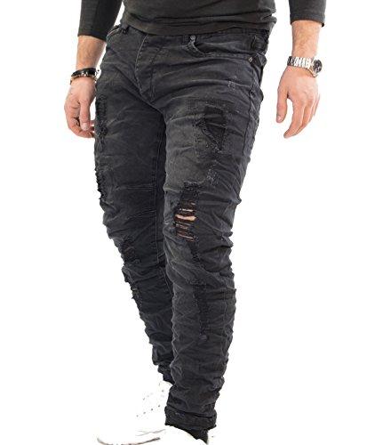 Antony Morale Jeans da uomo pantaloni Slim Fit (48, NERO)