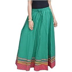 SHREEMANGALAMMART Ethnic Rajasthani Green Cotton Long Skirt(Dark Sea Green)(SMSKT512)