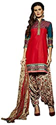 Go Traditional Women's Cotton Unstitched Dress Material (Pink)