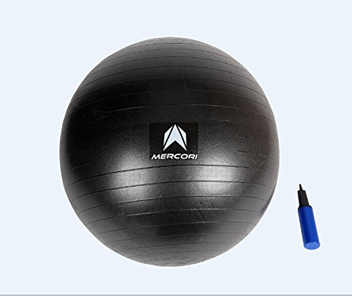 Christmas Sale! Mercori Exercise Ball Anti-burst (Black, 65cm)/ Gym Ball/ Balance Ball/ Yoga Ball