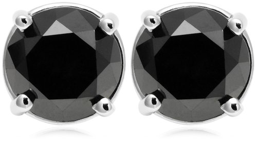 14k White Gold Black Diamond Studs (2 cttw)