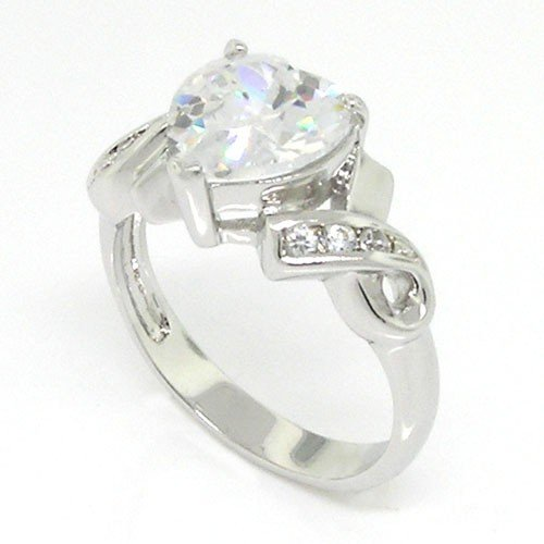 Classic Promise Heart Ring w/White CZs Size 10