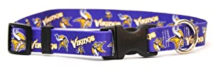 Yellow Dog Design Minnesota Vikings Licensed NFL Dog Collar, Small, 10-Inch by 14-Inch
