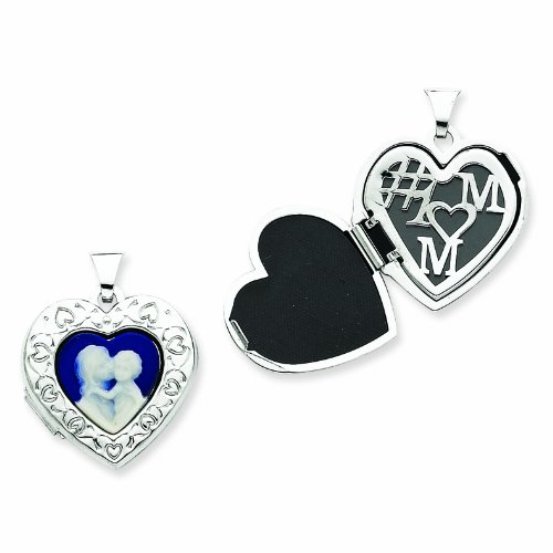 Sterling Silver Mother and Baby Agate Cameo 21mm Heart Locket