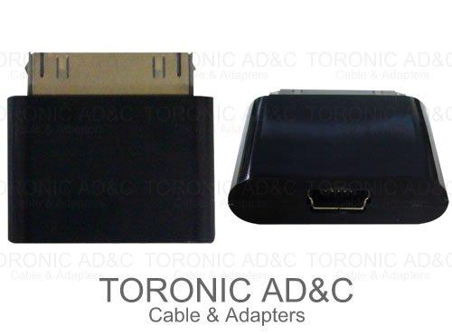 【TRONIC AD&C】iPhone/iPad Dockコネクタ/miniUSB-B(メス) 変換アダプタ ブラック