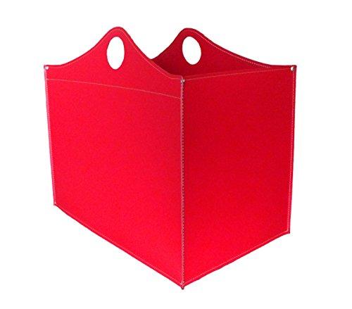 WOODBAG: borsa in cuoio portalegna e/o pellet, in cuoio rigenerato colore Rosso, con ruote gommate.