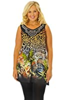 Nouvelle Womens Plus Size Nouvelle Orange Butterfly & Animal Print Tunic Top Sizes 12-14 to 24-26