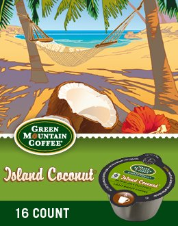 Green Mountain Island Coconut Coffee Keurig Vue Portion Pack, 64 Count