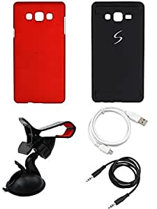 NIROSHA Cover Case USB Cable Mobile Holder car for Samsung Galaxy ON7 - Combo