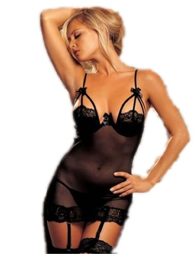 Jessica Black Suspender Women's Sexy Lingerie (One Size: Fits 8 -12)