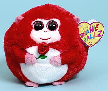 Ty Beanie Ballz In Love Monkey with Rose Plush