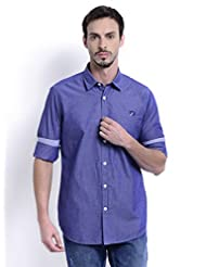 Sting Blue Solid Slim Fit Full Sleeve Cotton Casual Shirt For Men