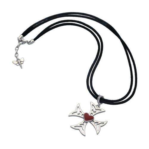 Small Sterling Silver Princess Cross Pendant with Red Enamel Heart