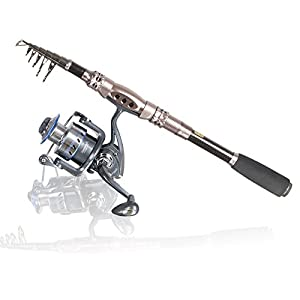 Telescopic Fishing Rod -Eocusun Ultra light 5 Types of Adjustable Length Portable Carbon Fiber Travel Spinning Fishing Pole for Saltwater and Freshwater(1pc)