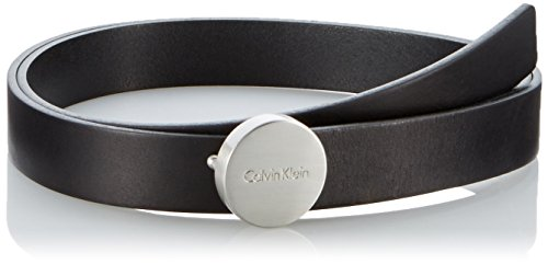 Calvin Klein Jeans Logo Plaque, Cintura Donna, Nero (Black 001), 85 cm