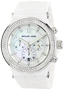 Michael Kors Watches  MK5391 Ladies Glitz Ceramic White Dial Watch (White)