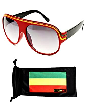 A07-rp Aviator Retro Millionaire Rasta Jamaican Sunglasses (Reg Red, UV400)