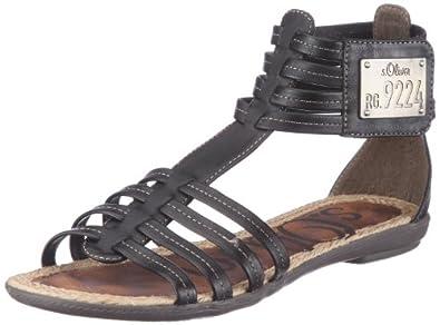 oliver casual 5 5 28602 28 damen sandalen schwarz black 1 eu 36. Black Bedroom Furniture Sets. Home Design Ideas