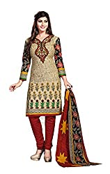 Aarti Apparels Women's Cotton Unstitched Dress Material _MAHARANI-01_Beige and Maroon