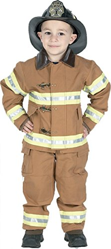 Boys Fire Fighter Tan W Hat Kids Child Fancy Dress Party Halloween Costume