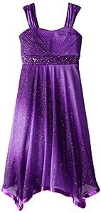 Speechless Big Girls' Glitter Dress with Ribbon Hem, Purple, 7