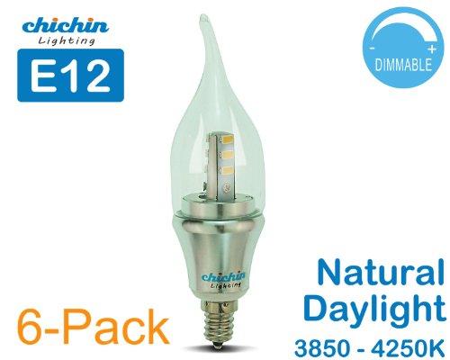 ChiChinLighting® 6-Pack LED Candelabra Bulb 4000k Neutral Daylight Color Afternoon Sunshine Color E12 base 60 Watt Replacement Candelabra base LED Bulbs LED Lights