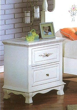 Princess White Wood Floral Print Night Stand W/2 Drawers