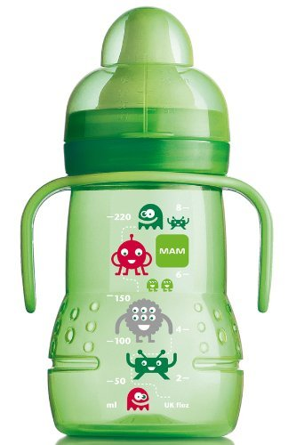 Mam 220 Ml Trainer Bottle With Handle (Green) [Baby Product] front-912411
