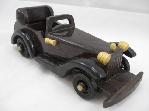 Goethnic Handmade And Hand Polished Vintage Car Replica Showpiece Decoration In Wood Large Size Open Top