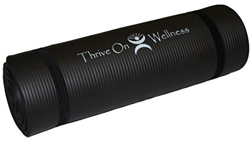 Thrive on Wellness Thick Yoga Mat - Best Comfort on Spine or Joints with Strap for Travel, 24
