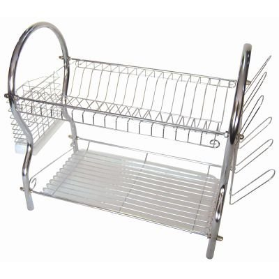 ASHLEY Housewares Égouttoir à vaisselle 2 niveaux Argenté