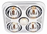 Aero Pure Bathroom Fans A716R W Aero Pure Fan- A716R White-4 Bulb Quiet Bathroom Heater Fan with Light