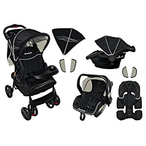Dream On Me Wanderer Travel System Stroller and Car Seat, Black