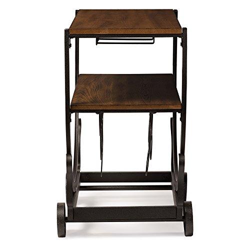 Baxton Studio Triesta Antiqued Vintage Industrial Metal & Wood Wheeled Wine Rack Cart 2
