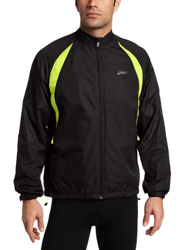 ASICS Asics Men's Verterbrae Jacket, Medium, Black/Acid Green