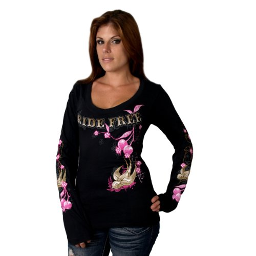 Hot Leathers Cherries Scoopneck Ladies Long Sleeve Tee (Black, XX-Large)