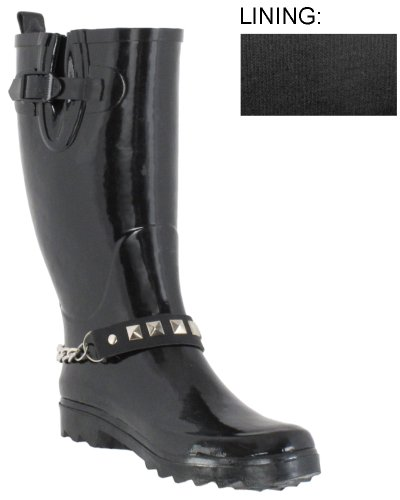 Capelli New York Pyramid Stud And Chain Strap With Buckle, Gusset, And Pull Loop Rain Boot
