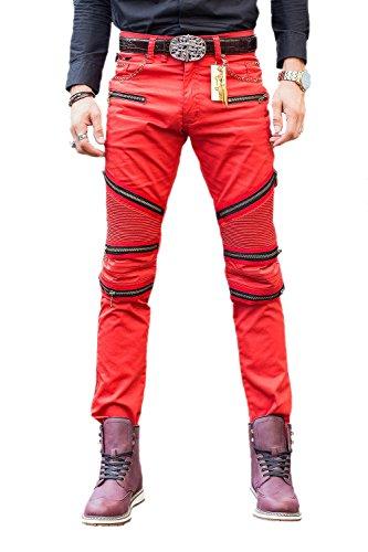 Pantaloni degli uomini Denim pista diritta Biker Jeans classico Slim red 42