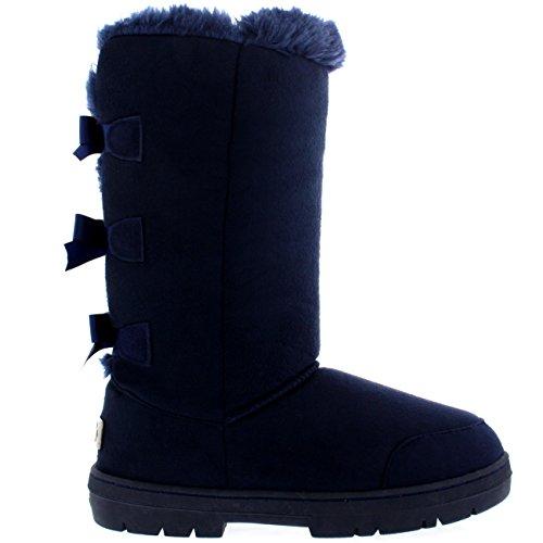 Damen-Schuhe-Triplet-Schleife-Fell-Schnee-Regen-Stiefel-Winter-Pelzstiefel-Marine-NAV39-AEA0307