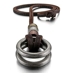 MunkiMix Alliage Genuine Leather Pendentif Collier Argent Double Torsadée Anneau Millésime Réglable 16~26 Pouce Chaîne Homme