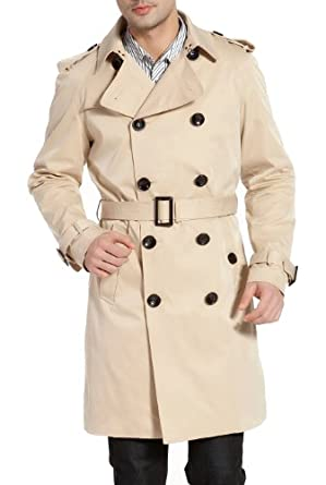 Buy BGSD Mens Classic Double-Breasted Trench Coat