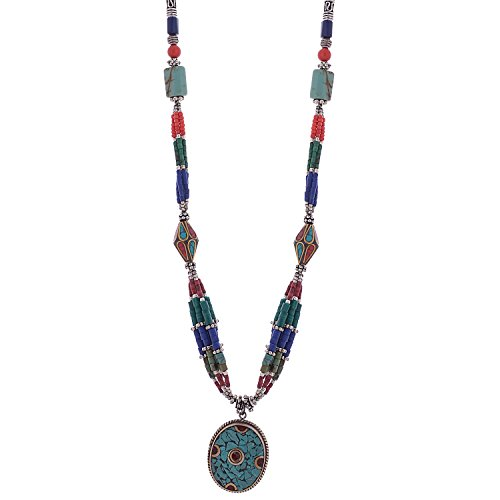 Iris Beautiful Hand Crafted Tibetan Necklace With Small Pendant From The Land Of Tibet (Multicolor)