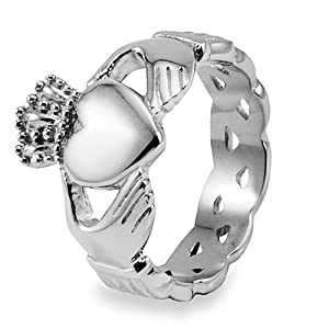 Stainless Steel Claddagh Ring with Celtic Knot Eternity Design (6.0mm) - Sizes 5-13