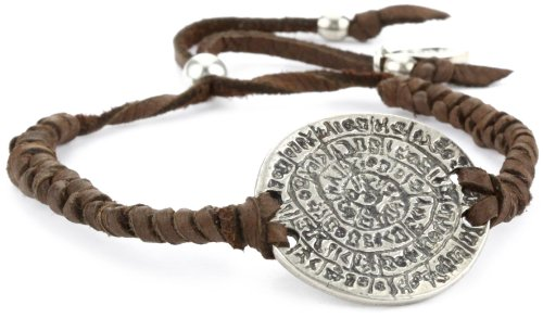 Ettika Brown Adjustable Leather Bracelet Silver Colored Phaistos Coin Charm