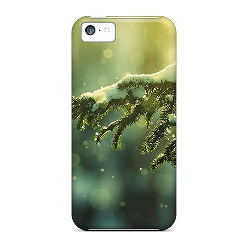 High-Quality Durable Protection Case For Iphone 5C(Pine Branch With Snow)