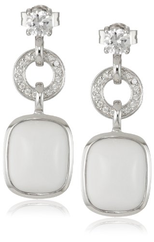 Giorgio Martello Sterling Silver White Agate and Cubic-Zirconia Drop Earrings