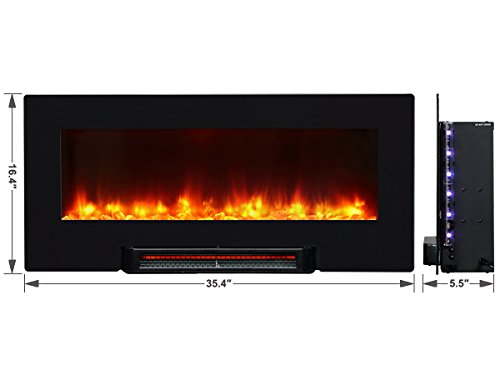 PuraFlame Provo Black 36 inch remote control portable & wall mounted flat panel fireplace heater, 1350W. Far-infrared heater, heating evenly. Large flame viewing area, Front air outlet design. Anti-scald air outlet cellular flocked net design. Anti-drying, keep indoor humidity.