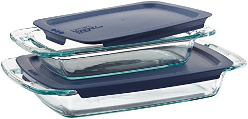 Pyrex  Easy Grab 4-Piece Value Pack, includes 1-ea 3-qt Oblong, 2-qtOblong, Blue Plastic Covers
